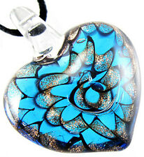 Women Girl Blue Flower Heart Chic Lampwork Murano Art Glass Pendant Necklace