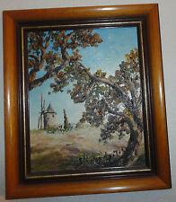 """peinture a l huile signée BORODZITCH """"Le moulin d'Alphonse DAUDET """" 35 x30cm """""""