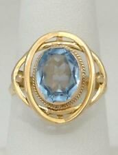 LADIES VINTAGE 18K YELLOW GOLD BEZEL SET OVAL 3.00ct BLUE TOPAZ SOLITAIRE RING
