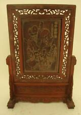 Chinese Carved Wooden Screen on Stand - Oriental Man on Donkey - 67cm High