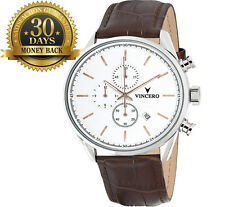 Original Vincero Luxury Men's Watch Steel Case Leather Wrist Watch Gift
