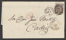 Great Britain 1862 6d plate 3 no hairlines on 1864 cover to Cardiff Spain SG 84