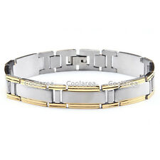 Mens Punk Silver Gold Stainless Steel Chain Wristband Clasp Cuff Bangle Bracelet