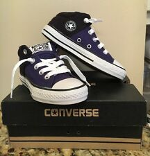 NWB Boy's Converse CT High Street Size 12 Junior Black/Blue No Time to Lace