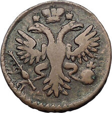1730 ANNA IVANOVNA Russian Empress Antique Denga 1/2 Kopek Coin Eagle i56440