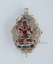 Silver Gau Ghau Tibetan Buddhist Shrine Prayer Box Pendant from Patan, Nepal