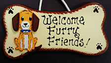DOG BONE Welcome Furry Friends SIGN PLAQUE Pet Groomer Puppy Kennel