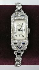 Vintage Roaring 20's Bulova Ladies 18k White Gold & Platinum Diamond Watch
