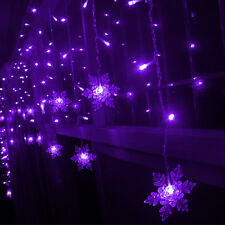 96LED 3.5M Snowflake Fairy String Curtain Lights Xmas Wedding Party Garden Decor