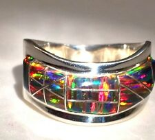 BLACK RED Gold FIRE OPAL Wide Band Ring! Wave Men's 11 Sterling SIlver 925
