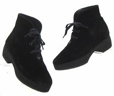 Vtg 90s Yves Saint Laurent Black Suede Chunky Creeper Lace Up Hiking Boots 6 M