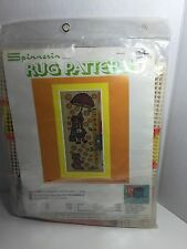 """Spinnerin Rug Pattern Upsy Daisy 18"""" X 48"""" Girl Dog Printed Canvas Only"""