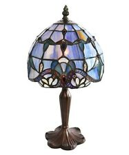 Small Blue Glass Lamp Stained Table Style Tiffany Light Vintage Handcrafted New