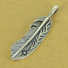 925 Stamp Sterling Silver Feather Pendant Sun Symbol Vintage WSP346