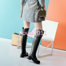 Womens Ladies Flats Side Zipper Rivet Over The Knee High Boots Casual Knight Sz
