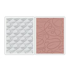 Sizzix Texture Embossing Folders 2PK - Paper Airplane & Dotted Lines Set  660250