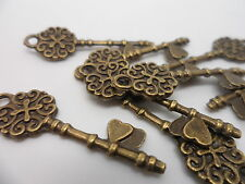 10 x Antique Bronze Love Keys~Key to my Heart~Charms,Pendant~Card,scrapbooking