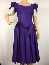 VTG 80s Alfred Angelo Sz 4 6 Purple Gown Bridesmaid Party Dress Lace Poofy Prom