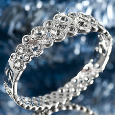18k white gold gf SWAROVSKI crystal circle ring bangle bracelet