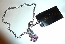 NWT - COOKIE LEE FINE SILVERTONE CHAIN BRACELET w/PINK/PURPLE CRYSTAL FLOWER
