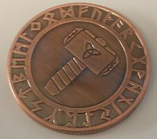 Viking Hammer of Thor & Compass Bronze Coin Medallion Token Valhalla Norse