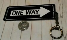Vintage One-Way plastic Replica Road sign Keychain Fob
