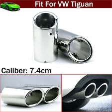 2x Silver Exhaust Muffler Tail Pipe Tip Tailpipe Emblems For VW Tiguan 2008-2017