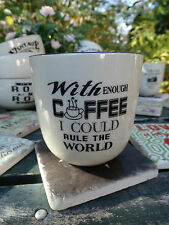 "LAFINESSE BECHER GROß KAFFEE TEE ""WITH COFFEE I COULD RULE THE WORLD"" KERAMIK"