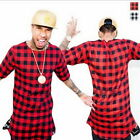 Long Extended Hip Hop T-Shirt Side Zipper Swag Men Streetwear Tyga Red Plaid