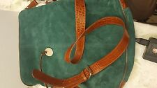 VINTAGE ROWALLAN TEAL COLORED SUEDE & LEATHER SHOULDER BAG SCOTLAND
