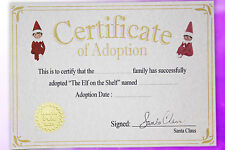 Elf on the Shelf Adoption Certificate