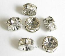 6x Rondelle Silver Bead Spacer Clear Crystals 6mm R100-06