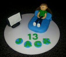 Edible handmade boys, bed gaming, games console, birthday cake topper 16th 18th