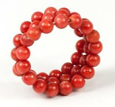 Antique Victorian to Edwardian Era Red Coral & Coiled Wire Ring, Adjustable
