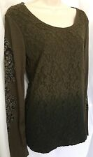 MISS ME Women's L Top Olive Green Ombré Stretch Knit Lace Long Sleeve Shirt