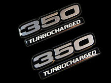 VMS 2 CHEVY TURBOCHARGED 350 CUBIC INCH ENGINE ALUMINUM EMBLEMS SILVER BLACK SBC
