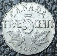 OLD CANADIAN COIN - 1925 - FIVE CENTS - KEY DATE - George V - Nice - RARE