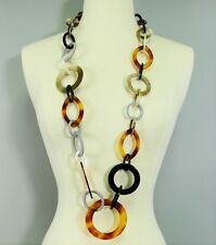 "Long Celluloid Link Tortoise Turtle Shell Gold Brown Black Chain 40"" Necklace"