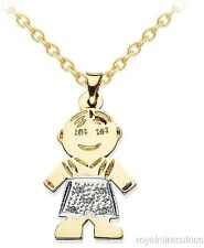 Personalized 25x16MM Baby Boy Diamond Necklace 14K Yellow Gold