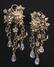 Vintage Kirks Folly Earrings Light Gold Sun Butterfly Star Angel Crystals NWT 1C