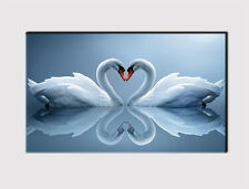 386 NEW X LARGE CANVAS 18''x32'' WALL ART  LOVING SWAN LAKE  BLUE PRINT PICTURE