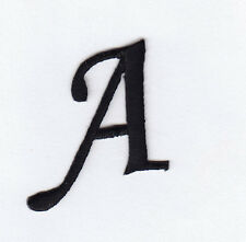 """MONOGRAM LETTERS - 1 1/4"""" BLACK LETTER """"A"""" - Iron On Embroidered Applique"""