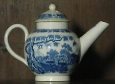 Pearlware blue and white transfer printed child's miniature tea pot.