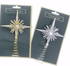 Christmas Holiday Gold & Silver Diamond Shaped Tree Toppers 2 Pack