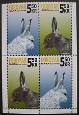 Faroese snow hare stamps, Faroe Islands, 2005, SG ref: 475 & 476, 4 stamps, MNH