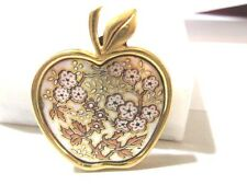 PENDANT FLOWERS IN AN APPLE BRASS DAMASCENE SIGNED REED & BARTON VINTAGE
