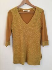 Pilcro and the Letterpress Anthropologie Mustard Yellow V-Neck Sweater Sz Small