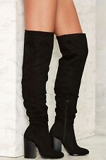 Nasty Gal Fold You So Over-the-Knee Boots size 8.5 new in box black