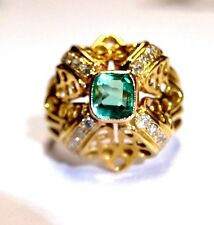 Ever-So-Beatiful! 18K Gold Lacey Colombian Emerald and Diamond Domed Ring 7.5