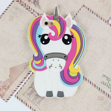 Cute Animal Colorful Unicorn Horse Silicone 3D Case Cover Back For Various Phone